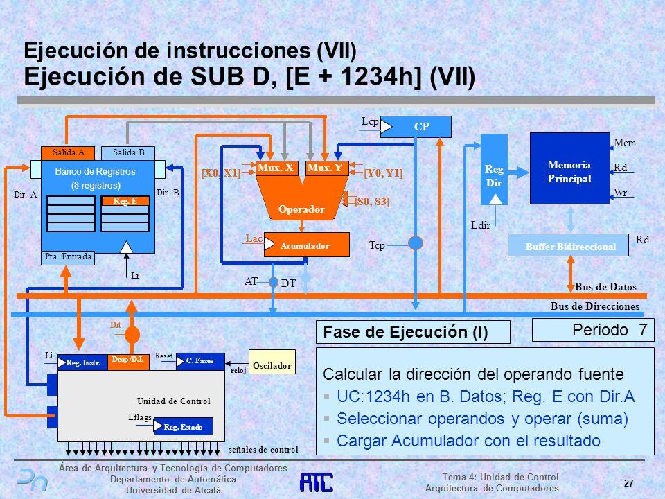 Ejecución de instrucciones (VII) Ejecución de SUB D, [E + 1234h] (VII)